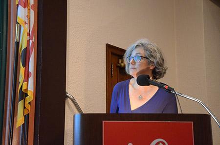 "University of Baltimore professor Elizabeth Nix speaks at Enoch Pratt Free  Library as part of the Open Society Institute series ""Talking About Race."""