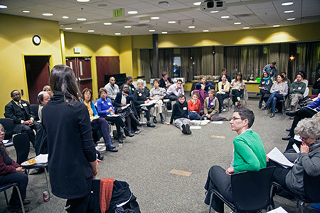 """The Baltimore Jewish Council and Jews United for Justice hosted """"Lighting a Fire for Racial Justice"""" in which participants discussed racism, oppression  and privilege.  (Marc Shapiro)"""