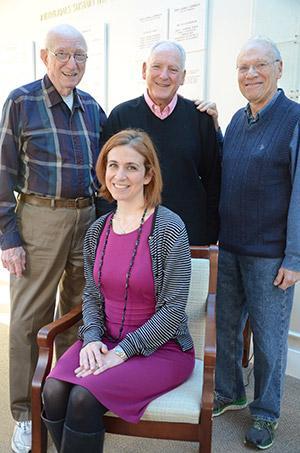 (From left): Bagel Boys co-chairs Sidney Rankin, Howard Cornblatt and Marty Buckman with Edward A. Myerberg Center assistant director Autumn Sadovnik. (Photo by Melissa Gerr)