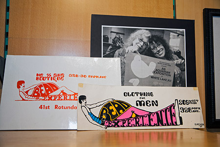 Some signs for The Bead Experience over the years. The top right photo is of Idy Harris and Anne Liner holding up a promotional poster for Woodstock for which their store sold tickets. (Marc Shapiro)
