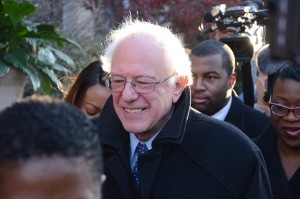 Bernie Sanders walks through Baltimore's Sandtown-Winchester neighborhood. (By Daniel Schere)
