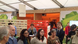 COEJL Manager Liya Rechtman (center) leads an interfaith prayer service in the Green Zone of the COP21 climate summit in Paris. (Photo provided)