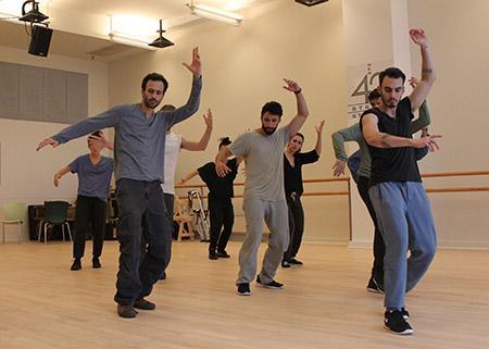 "Choreographer Hofesh Shechter (left) with ""Fiddler"" cast members at New West 42nd Street Studios. (Lindsay Hoffman/Jeffrey Richards Associates)"