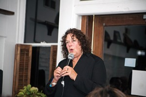 Marcia Haddad Ikonomopoulos, director of the  museum at Kehila Kedosha Janina in New York, speaks about a proposed Holocaust education  center to be located in Salonika, Greece at a fundraiser held by the Baltimore Jewish Council  at The Black Olive restaurant. (Marc Shapiro)