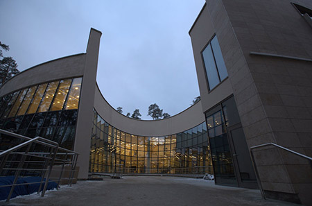 An exterior view shows the grandeur of the Zhokuvka Jewish Community Center.