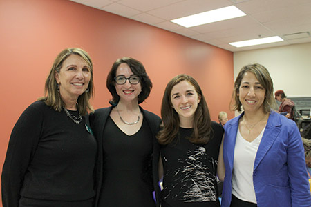 From left: Amalia Phillips, Shoshana Palatnik, Sophie Tulkoff and Reut Friedman at the screening of the film 'Crossing the Line 2' held at the Macks Center for Jewish Education. (Photo by Justin Katz)