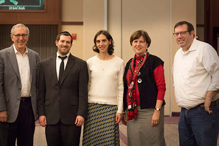 From the left: Ken Gelula, school board president; Rabbi Moshe Margolese, principal; Terri Rosen, vice president of marketing; Rosemary Warschawski, board member; Ari Taragin, immediate past board president (Malky Hochberg)