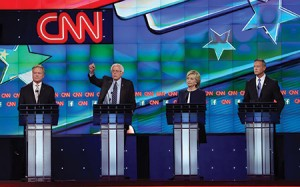 Democratic presidential candidates (from left), Jim Webb, Sen. Bernie Sanders (I-VT), Hillary Clinton and Martin O'Malley take part in a presidential debate sponsored by CNN and Facebook in October 2015 in Las Vegas, Nev.