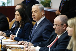 Justice Minister Ayelet Shaked, (far left), and Prime Minister Benjamin Netanyahu at a weekly cabinet meeting in Jerusalem. (AMIR COHEN/Photo via Newscom)