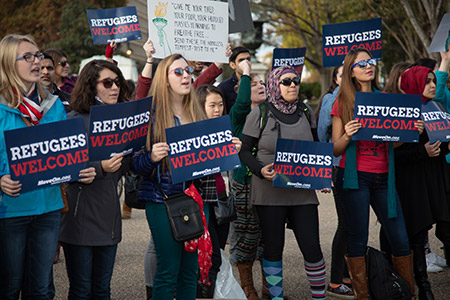 Hundreds of demonstrators rallied outside the White House in November in support of allowing Syrian refugees to enter the United States. (Jeff Malet Photography/Newscom)