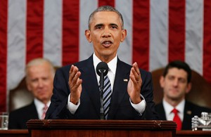 President Barack Obama  used his final State of the Union  address to appeal for unity. (Evan Vucci/Newscom)