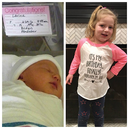 Lila Levine, born on Feb. 29, 2012, will celebrate her first real birthday on Monday. (Dahlia Levine)
