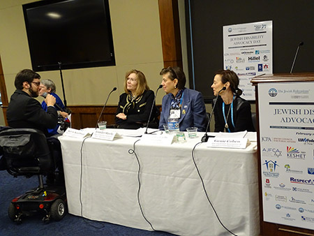 From left: During Jewish Disability Advocacy Day, Aaron Kaufman, senior legislative  associate at the Jewish Federations of North America moderated a panel with Jennifer Sheehy, acting assistant secretary of the United States Office of Disability Employment  Policy in the Department of Labor; Jennifer Lazlo Mizrahi, CEO of RespectAbility; and Genie Cohen, executive director of International Association of Jewish Vocational Services. (Suzanne Pollak)