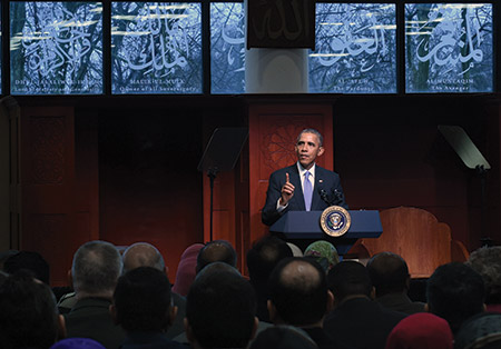 President Barack Obama visits the Islamic Society of Baltimore on Feb. 3. (Kenneth K. Lam/Baltimore Sun/TNS/Newscom)