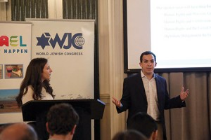 Justin Hayet and Haley Silverstein pitch their conference idea at the First Annual Campus Pitch Competition at WeWork. (photo provided)