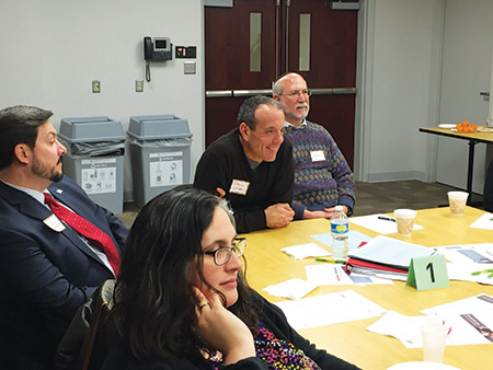 Clockwise from front: Rabbi Rachel Blatt, director of lifelong learning at Beth Israel; Ken Davidson, executive director of Baltimore Hebrew; facilitator and Beth Am member David Lunken; and Beth Israel Rabbi Jay Goldstein at a synagogue engagement partnership meeting. (Photo by Provided)