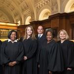"From left: Baltimore City Circuit Court Judges Audrey Carrion, Wanda Keyes Heard,  Karen ""Chaya"" Friedman, Michael DiPietro, Cynthia Jones and Shannon Avery. (Provided)"
