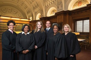 "From left: Baltimore City Circuit Court Judges Audrey Carrion, Wanda Keyes Heard,  Karen ""Chaya"" Friedman, Michael DiPietro, Cynthia Jones and Shannon Avery. (Provided)"