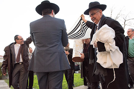 Congregants introduce a new Torah scroll to their synagogue in  Porto, Portugal.