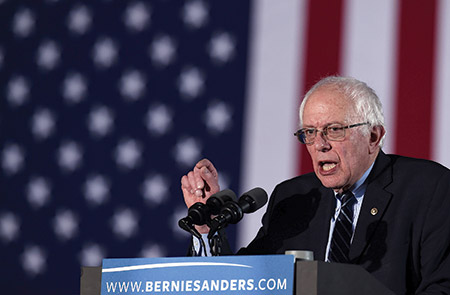 With his victory in New Hampshire, Bernie Sanders is the first Jewish American to win a primary. (JEWEL SAMAD/AFP/Getty Images))