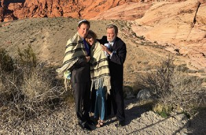 Rabbi Mel Hecht marries Craig Silver and Karen Butt of Connecticut at Red Rock Canyon near Las Vegas. (Ron Kampeas)