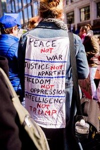 There was no shortage of protestors who came out in force against Donald Trump and against AIPAC. (David Stuck)