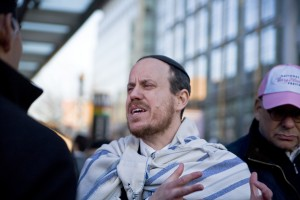 Rabbi Shmuel Herzfeld of Ohev Sholom-The National Synagogue was removed from the Verizon Center after shouting and walking toward the stage during Donald Trump's speech during AIPAC, 2016. (Marc Shapiro)