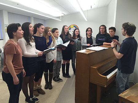 HaZamir singers rehearse at the JCC of Greater Washington in Rockville for their Carnegie Hall performance. (Photo by Cheryl Troy)