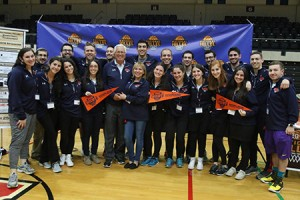 Board members are all smiles after another successful tournament. The National Hillel Basketball  Tournament is student-run and had 18 board members this year. (Lisa Appelbaum of Photography By Lisa)