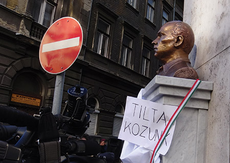 The unveiling of a bust of anti-Semitic Holocaust-era lawmaker Gyorgy Donath in Budapest drew the ire of mostly non-Jewish protesters. (Adam Csillag)