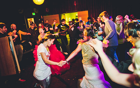 Charm City Tribe's Wild Purim Rumpus features music, mask-making, an animated film and a whole lot of dancing. (David Stuck)