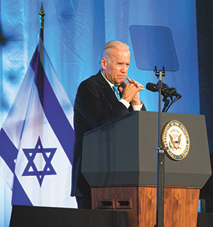 """Vice President Joe Biden received applause at the JStreet Gala when he asserted that Israeli settlement expansion is """"counterproductive to Israel's security."""" (Moshe Zusman Photography Studio)"""