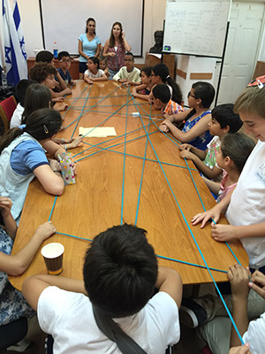 Achla students, who are Jewish and Arab Israelis, play cat's cradle. (Provided)
