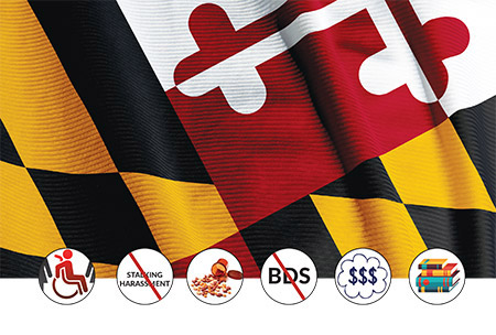 MD state flag: ©iStockphoto.com/Matt Trommer; Disability icon: ©iStockphoto.com/Alex Belomlinsky