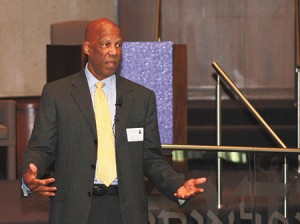 Dr. Terrence Roberts, a member of the Little Rock Nine, challenged Krieger Schechter and Roland Park  Elementary/Middle School students to wrestle with ideas and concepts beyond their years during his speech. (Justin Katz)