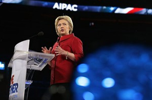Democratic presidential frontrunner Hillary Clinton addresses the annual AIPAC policy conference in Washington, D.C. in March 2016. (Alex Wong/Getty Images)
