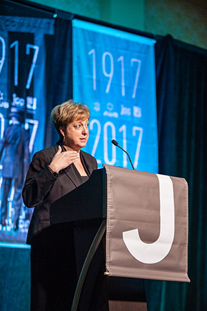 Caryl Stern, president and CEO of the American arm of UNICEF, addresses the opening plenary as keynote speaker. (Photo by Marc Shapiro)