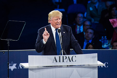 Republican presidential candidate Donald Trump makes his point at  a news conference at the AIPAC Policy Conference in Washington in March. (Jabin Botsford/The Washington Post via Getty Images)