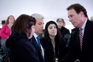 Baltimore County Executive Kevin Kamenetz (right) gives his regards to Noah Leotta's parents (from left), Marcia Goldman and Richard Leotta, and sister Shana. (Marc Shapiro)