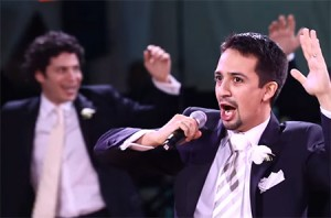 """Hamilton"" creator and star Lin-Manuel Miranda performs ""To Life! (L'Chaim!)"" from ""Fiddler on the Roof"" at his wedding in 2010. (Screenshot from YouTube)"