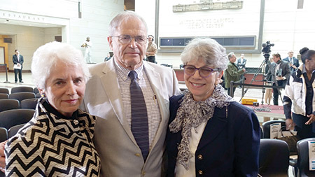 Holocaust survivors (from left) Eva Clarke, Mark Olsky and Hana Berger Moran were on hand during the annual Days of Remembrance ceremony held in the U.S. Capitol on May 5. (Photo by Daniel Schere)