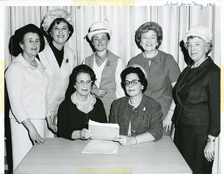 Attendees at 'School for a Day,' 1965. From left, standing: Mrs. Benjamin C. Glass, second vice president; Mrs. LeRoy F. Kappelman, first vice president; Mrs. Jerome S. Cardin, president; Mrs. Bernard Siroka, third vice president and Mrs. Morris Rotholz, past president. Seated, from left: Mrs. I. Harold Hammermont and Mrs. Allan T. Hirsh, co-chairwomen of the 50th Anniversary Convention. (Courtesy of the Jewish Museum of Maryland, 1989.108.004)
