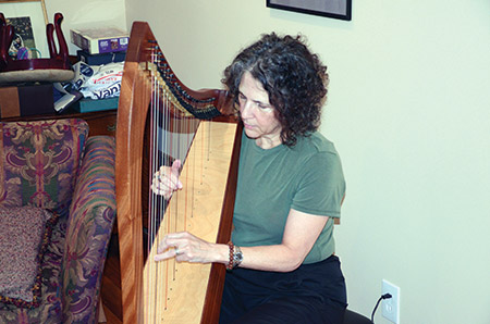 Shelley Morhaim, incoming chair of the Maryland State Arts Council, plays the folk harp at her home in Pikesville. She plays part time for patients at Mercy Hospital. (Photo provided)