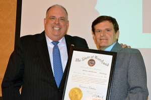 ABRAMSON HONORED: Longtime Baltimore Jewish Council executive director Art Abramson (right), who  recently stepped down from his position after almost 26 years, was honored by colleagues and elected officials,  including Gov. Larry Hogan (pictured), at the BJC's annual meeting on Wednesday, June 8. (Provided)
