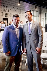 The Associated's Real Estate Industry Group hosted Sagamore Development president Marc Weller (left), who founded Sagamore with Under Armour CEO Kevin Plank, at its annual event on June 14. Also pictured is Andrew Finkelstein, chair of REIG. (provided)