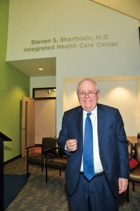 Dr. Sharfstein poses in front of the newly opened Integrated Health Care Center, which was named in his honor. (Courtesy of Sheppard Pratt)