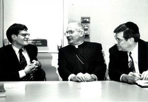Art Abramson with Cardinal William Keeler, the 14th Archbishop of Baltimore, and Chizuk Amuno Congregation Rabbi Emeritus Joel Zaiman, circa 1990s. (Photo by David Stuck)