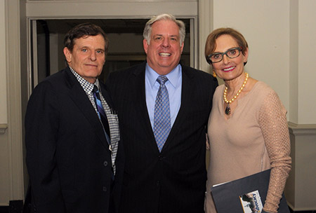 Abramson with Gov. Larry Hogan and Baltimore Jewish Council president Lainy LeBow-Sachs at Advocacy Day, a community lobbying event in Annapolis, in 2015. (Photo by David Stuck)