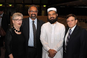 From left: Martha Weiman, chair of interfaith dialogue at the BJC, Del. Jay Jalisi and a Muslim Imam with Abramson. (Photo by David Stuck)