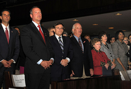 From left: Rep. John Sarbanes, former Gov. Martin O'Malley, Abramson, Sen. Ben Cardin, Sen. Barbara Mikulski, Merna Cardin and Baltimore City Mayor Stephanie Rawlings-Blake at The Associated and BJC's 9/11 Remembrance program on Sept. 11, 2011. (Photo by David Stuck)